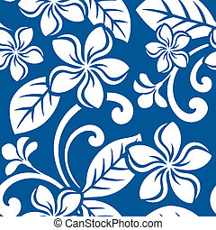 Seamless Island Plumeria Pattern - Illustration of a...