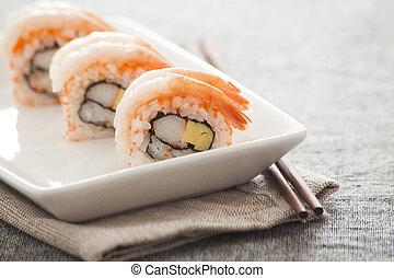 japonés, Sushi, --, dulce, camarón, rollo