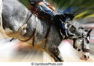 Rodeo Saddle Bronc Zoom - Closeup of a rodeo saddle bronc...