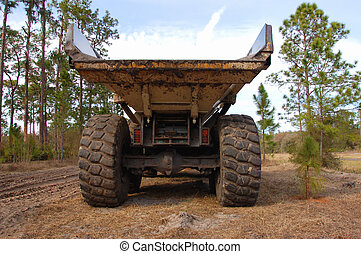 heavy duty dump truck - rear view of a large dump truck