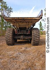 heavy duty dump truck - rear view of a large dump truck