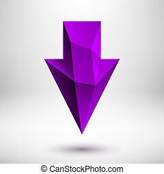 Purple Down Arrow Sign - 3d faceted purple violet down arrow...