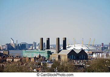 Greenwich Power Station, London - View from Greenwich Park...