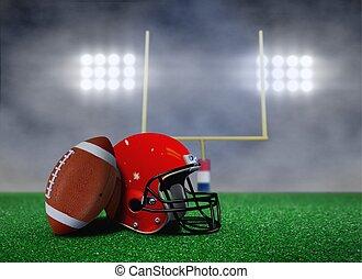 Football and Helmet on Field