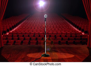 Microphone on Stage with Empty Seats