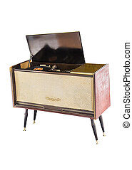 Old record player on white - Old record player isolated on...