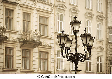 Old Town - Street lamp in historic Old Town district, Lviv