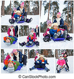 Funny family is sledging in winter-landscape - Collage of...