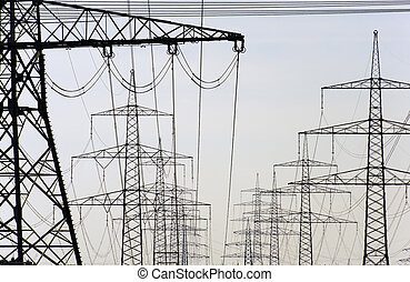 electric power poles - panorama view to group of electric...