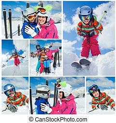 Skiing winter fun Happy family - Skiing, winter, snow, sun...