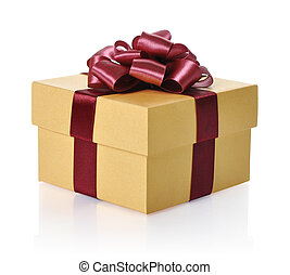 Golden gift box with red ribbon over white background.