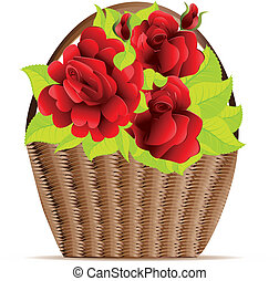 Red roses in basket - Illustration of floral basket with red...