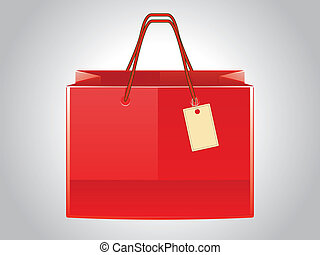 Red shopping bag with tag