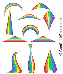 Set of 12 rainbow. Vector illustration
