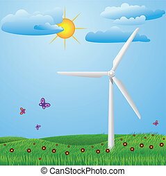 Wind turbine - Green meadow with red flowers, butterflies...