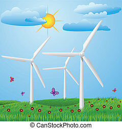 Wind turbines - Green meadow with red flowers and wind...