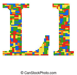 Letter L built from toy bricks in random colors - Letter L...
