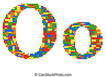 Letter O built from toy bricks in random colors - Letter O...