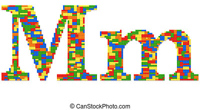 Letter M built from toy bricks in random colors - Letter M...