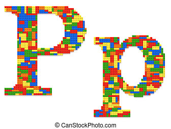 Letter P built from toy bricks in random colors - Letter P...
