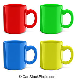 3d cup on white background