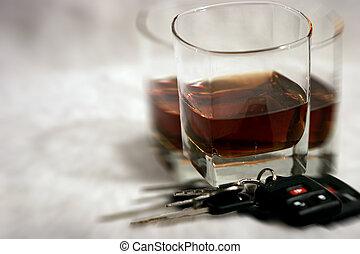 bebida, y, Manejar, -, confuso, visión