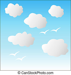 .White clouds on a blue sky