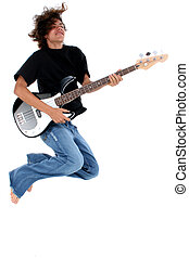 guitar - Sixteen year old teen with electric guitar.