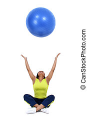 yoga ball - Beautiful 36 year old healthy woman tossing yoga...