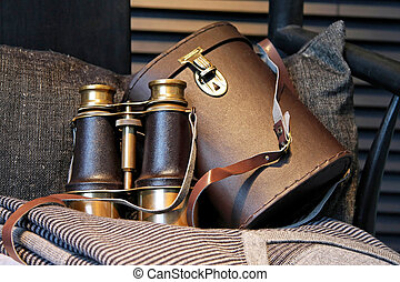 Binoculars - Vintage style binoculars with retro leather...
