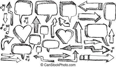 doodle Arrows and Speech bubble set