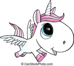 Unicorn Pegasus Vector Illustration - Cute Unicorn Pegasus...