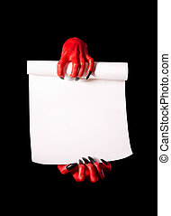 Red devil hands with black nails holding blank paper scroll...