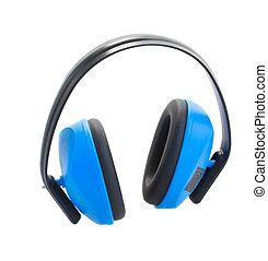 Hearing protection blue ear muffs isolated on white...