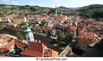 Historical center of Cesky Krumlov Timelapse View