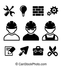Industrial worker icons set - Industrial worker and tools...