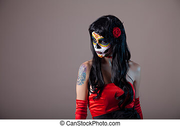 Girl with classic sugar skull makeup