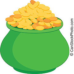 Pot full of gold coins