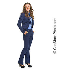Full length portrait of smiling business woman