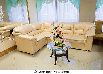 Interior of a living room with a leather sofa
