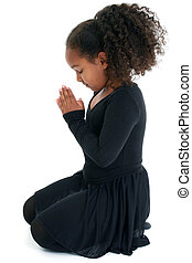 Yoga - Adorable five year old African American Girl in Yoga...