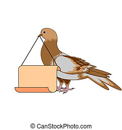A pigeon holding a big blank paper in his beak. Vector-art...