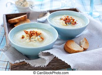 sopa, couve flor