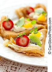 Crepes, frutas