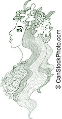 Girl with chaplet - Artistic vector drawing of a beautiful...