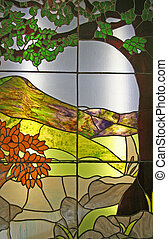 Stained Glass Window - A close up photo of a stained church...