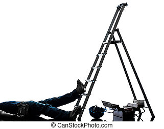 accident manual worker man falling from ladder silhouette -...