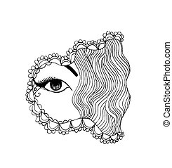 Fantasy eye - Abstract ink pen illustration of a woman eye