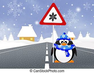 Penguin with snow sign - illustration of penguin with snow...