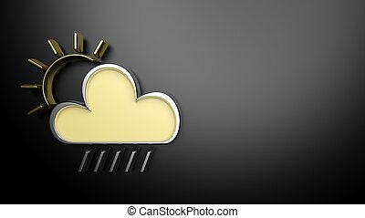 Weather forecast background, with 3d cloud and sun